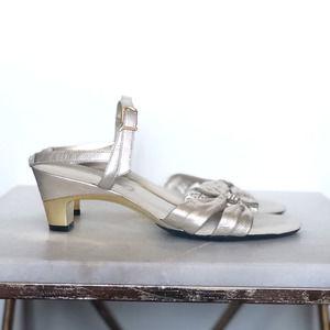 Onex Champagne Gold Bow Diamond Sandals